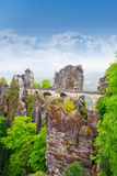 Amazing view of Bastei bridge, Germany Stock Photo