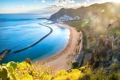Amazing view of beach las Teresitas with yellow sand. Location: Santa Cruz de Tenerife, Tenerife, Canary Islands. Artistic picture. Beauty world stock photography