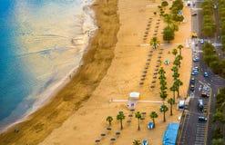Amazing view of beach las Teresitas with yellow sand. Location:. Santa Cruz de Tenerife, Tenerife, Canary Islands. Artistic picture. Beauty world Royalty Free Stock Photo