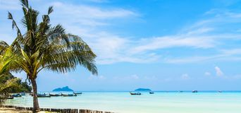 Amazing view of beautiful beach with palm trees, chaises and tra. Nsparent turquoise water. A great place to relax. Location: Ko Phi Phi Don island, Krabi Royalty Free Stock Photography