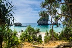 Amazing view of beautiful beach on Phi Phi Island with longtale. Boat. Location: Krabi Province, Thailand, Andaman Sea. Artistic picture. Beauty world stock images