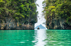 Amazing view of beautiful lagoon with turquoise water in Koh Hon Royalty Free Stock Photography