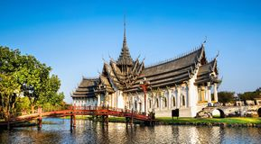 Amazing view of beautiful Sanphet Prasat Palace with reflection royalty free stock image