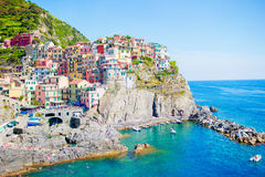 Amazing view of the beautiful village of Manarola in the Cinque Terre Reserve. Liguria region of Italy. Stock Images