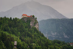 Amazing view on Bled lake, Bled castle at sunrise with mountain Triglav in background. Slovenia, Europe Stock Image