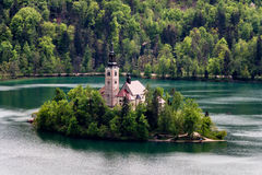 Amazing View On Bled Lake, Island,Church And Castle With Mountai. N Range (Stol, Vrtaca, Begunjscica) In The Background-Bled, Slovenia, Europe Stock Image