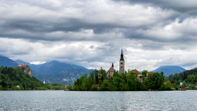 Amazing View On Bled Lake, Island,Church And Castle With Mountai. N Range (Stol, Vrtaca, Begunjscica) In The Background-Bled, Slovenia, Europe Stock Photo