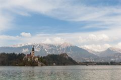 Amazing View On Bled Lake, Island,Church And Castle With Mountain Range Stol, Vrtaca, Begunjscica In The Background-Bled,Sloveni. A,Europe Stock Photos