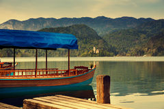 Amazing View On Bled Lake. Springtime or summertime in Slovenia. Royalty Free Stock Photography