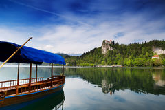 Amazing View On Bled Lake. Springtime or summertime in Slovenia. Stock Photo