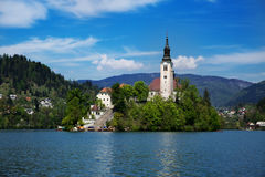 Amazing View On Bled Lake. Springtime or summertime in Slovenia. Royalty Free Stock Photo