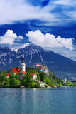 Amazing View On Bled Lake. Springtime or summertime in Slovenia. Royalty Free Stock Image