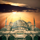 Amazing view of Blue Mosque with sun and  sunbeams Stock Photography