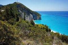 Amazing view of Blue Waters of Milos Beach, Lefkada, Greece Royalty Free Stock Image