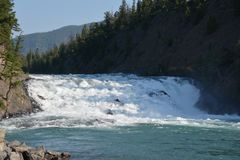 View on the Bow Falls in Banff national park Royalty Free Stock Photography