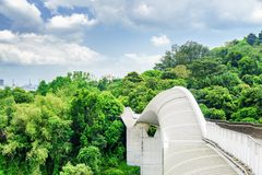 Amazing view of bridge imitating a wave, Singapore. Amazing view of bridge imitating a wave. Fantastical shape of the pedestrian bridge in Singapore. Curving and Royalty Free Stock Image