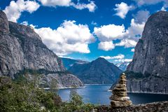 Yosemite Mountains at Hetch Hetchy. This amazing view can be seen through the trail in Hetch Hetchy by Yosemite California Stock Photography