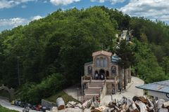 Amazing view of churches in Krastova gora Cross Forest , Rhodope mountain, Bulgaria stock images