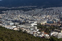 Amazing view of the city of Athens from Lycabettus hill, Greece Royalty Free Stock Photos