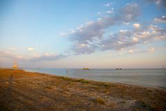 Amazing view of clear sea landscape with cloudy sky as a background Sunset time. Baku, Azerbaijan stock image