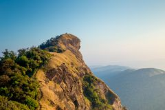Amazing view clear sky on the top mountain. Only adventure traveler can see this view stock images