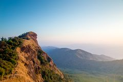 Amazing view clear sky on the top mountain. Only adventure traveler can see this view stock photo