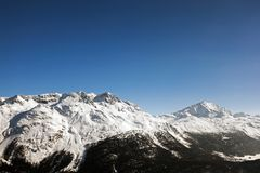 Amazing view and color of a snowy mountain in the alps switzerland.  Stock Photography