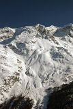 Amazing view and color of a snowy mountain in the alps switzerland.  Stock Images