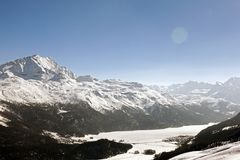 Amazing view and color of a snowy mountain in the alps switzerland.  Stock Image