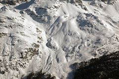Amazing view and color of a snowy mountain in the alps switzerland.  Royalty Free Stock Photography