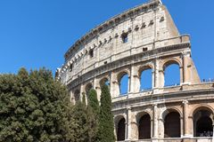 Amazing view of Colosseum in city of Rome, Italy. ROME, ITALY - JUNE 23, 2017: Amazing view of Colosseum in city of Rome, Italy Royalty Free Stock Image