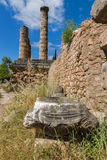 Amazing view with Columns in The Temple of Apollo in Ancient Greek archaeological site of Delphi, Greece Royalty Free Stock Image
