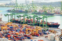 Amazing view of a container terminal, the Port of Singapore royalty free stock photography