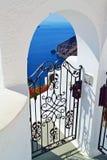 Amazing view Santorini island villa entrance Greece Royalty Free Stock Photos