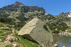 Amazing view of Dzhangal peak and Banski lakes, Pirin Mountain Stock Photos