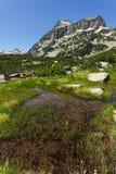 Amazing view of Dzhangal peak and Banski lakes, Pirin Mountain Royalty Free Stock Images