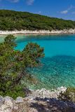 View of Emblisi Fiskardo Beach, Kefalonia, Ionian islands, Greece Royalty Free Stock Photography