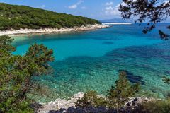 View of Emblisi Fiskardo Beach, Kefalonia, Ionian islands, Greece Stock Photos