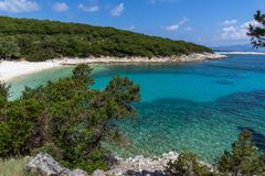 View of Emblisi Fiskardo Beach, Kefalonia, Ionian islands, Greece Royalty Free Stock Images