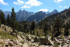 Amazing view of Encantats peak in the Aigüestortes National Park, Pyreness mountains, Catalonia, Spain Royalty Free Stock Photo