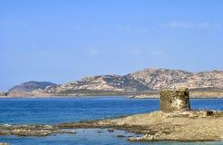 Amazing view of the famous La Pelosa Beach, sardinia, Italy stock images