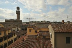 Amazing view in Florence , Palazzo Vecchio  seen from a hotel Royalty Free Stock Photo