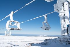 Amazing view of a frozen cable car stock photo