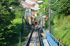Amazing view of funicular railway on Lake Como climbing to Brunate, Como, Italy Royalty Free Stock Images