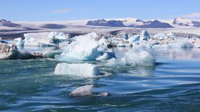 Amazing view of glacial lake Jokulsarlon in Iceland stock video