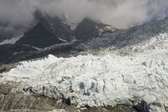Amazing view of the Glacier des Bossons . French Alps. Chamonix. Stock Photography