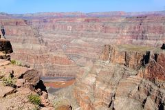 Amazing view on Grand Canyon, Arizona Blue sky background. Beautiful nature backgrounds royalty free stock images