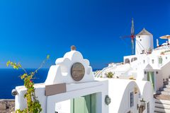 Beautiful architecture on Santorini island, cyclades, Greece. Amazing view on greek island Santorini Royalty Free Stock Photography
