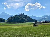Amazing view of the Gruyere Castle on his hill stock image