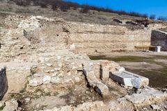 Heraclea Sintica - Ruins of ancient Greek polis,  located near town of Petrich, Bulgaria. Amazing view of Heraclea Sintica - Ruins of ancient Greek polis Stock Photos